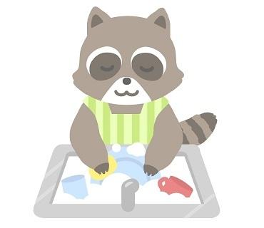 洗うアライグマの絵